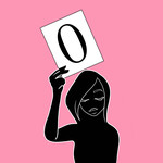 A cartoon image of a woman holding up a sign with the number zero against a pink background.