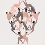 illustration of nude women linked together creating a symmetrical tower of connected bodies