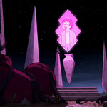 Steven Universe appears as a pink hologram floating over archaic ruins