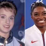 Kerri Strug, a white female gymnast with short light brown hair, and Simone Biles, a Black female gymnast with black hair pulled off her face.