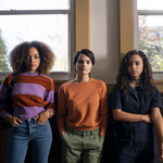 A photo of Quintessa Swindell, Kiana Madeira, Brianna Hildebrand, who play the main characters in the Netflix show Trinkets.