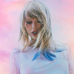 Taylor Swift, a white woman with shoulder-length blond hair, is posed in front of a pink background