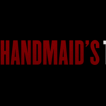 """The Handmaid's Tale"" logo in white and red text against a black background"