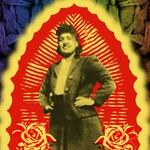 a screen print of Henrietta Lacks, a Black woman with her hands on her hips, collaged in a Lady of Guadalupe style surrounded by cutouts of flowers and a glowing outline, on top of an image of cells in a rainbow gradient.