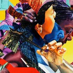 a colorful, fragmented painting of a Black woman in cornrows