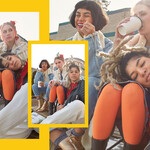 collage image of young stylish women—one brown, white, and Black—hanging outside with varying expressions ranging from serious to playful