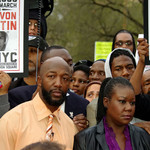 Trayvon Martin's father Tracy Martin and his mother Sabrina Fulton at the Union Square protest against Trayvon's shooting death