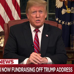 "Trump sits at a desk in the Oval Office and addresses the nation, the chryon says ""Trump campaign now fundraising off Trump address"""