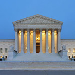 The west side of the US Supreme Court building at dusk