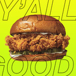 "A photo of the Popeyes chicken sandwich with the words ""y'all good"" overlayed."