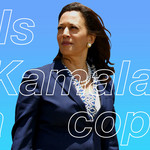 "A photo of Kamala Harris, which reads, ""Is Kamala a cop?"""