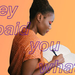 A Black woman holds a book. The text overlay reads: They paid you how much?