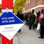 a line of voters in Brooklyn, New York in 2008