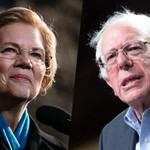 A split image of Bernie Sanders and Elizabeth Warren, a white man and a white woman