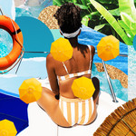a collage of a Black woman with a white headband and an orange swimsuit sits in front of a pool