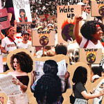 a collage of young people holding Wake Up signs at various protests