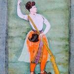 Nur Jahan holding a gun