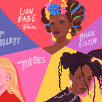 A colorful illustration of Pip Millett, Lion Babe, Billie Eilish, Torres, and Tinashe