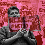 photo-illustration of Sherman Alexie holding a #MeToo placard