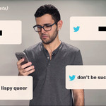 Carlos Maza looks at his phone screen, quotes of homophobic tweets he received populate the screen
