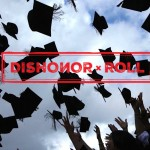 Graduation caps being thrown in the air with an overlaid title of Dishonor Roll