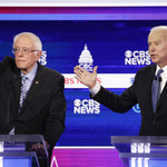 Bernie Sanders and Joe Biden on a debate stage