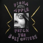 "A black album cover with ""Fiona Apple"" and ""Fetch the Bolt Cutters"" in a purple font and a close up of Fiona Apple's face."