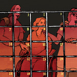 """illustration of disabled women behind """"bars"""" made of a calendar page"""
