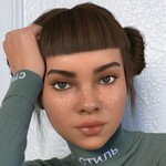 Lil Miquela, a simulated, robot influencer, poses in a green mock neck top. She is brown, with light brown hair in double buns and freckles.