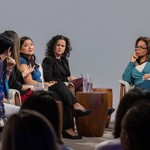 Oprah, Jeanine Cummins, Julissa Arce, Esther Cepeda, and Reyna Grande on Apple TV+'s 'Oprah's Book Club.'