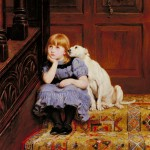 little girl in a blue dress sits with her head on her chin and a dog leaning on her shoulder