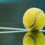 A tennis ball on the white lines of a wet tennis court