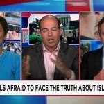 Irshad Manji at left, debates with two white men on CNN split screen