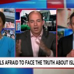 Irshad Manji at left, debates with two white men on CNN split screen
