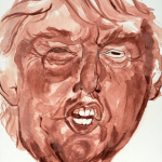 A portrait of Donald Trump made from menstrual blood.