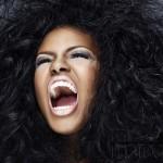 A woman roaring
