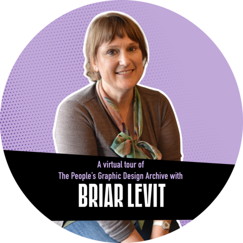 """Photo of Briar Levit against a purple background with a banner that reads """"A virtual tour of the People's Graphic Design Archive"""""""