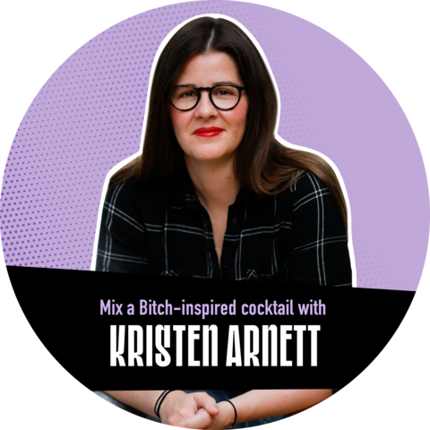 """A portrait of Kristen Arnett against a purple background with a banner that reads, """"Mix a Bitch-inspired cocktail with Kristin Arnett"""""""