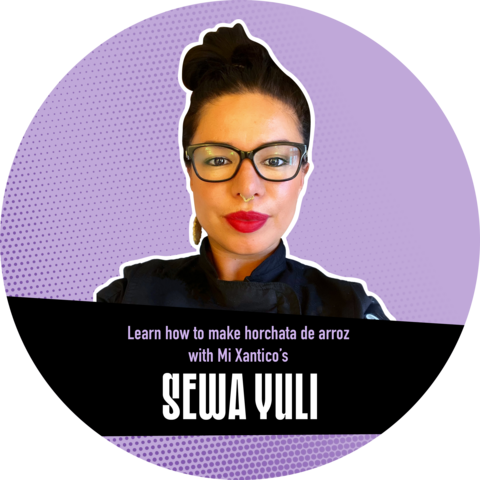 """Photo of Sewa Yuli against a purple background with a banner that reads """"Learn how to make horchata de arroz with Mi Xantico's Sewa Yuli"""