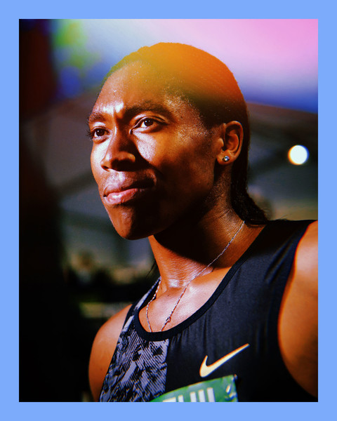 closeup photo of track star, Caster Semenya, a Black woman, with short cornrows, wearing a sleeveless jersey and track number, while looking off to the side