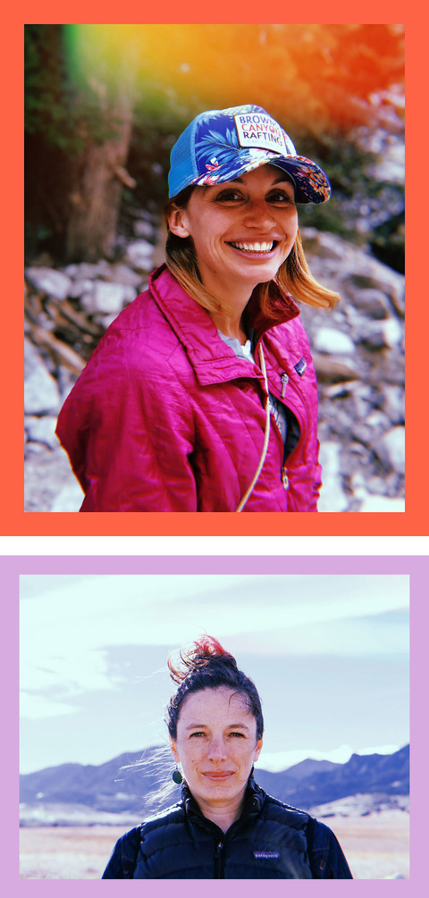 top photo of scientist Kelly Ramirez, a short haired, blonde Latinx woman in the outdoors, wearing a pink jacket and cap and smiling. Bottom photo of scientist Jane Zelikova, a white woman with brown hair standing in front of a mountain landscape wearing