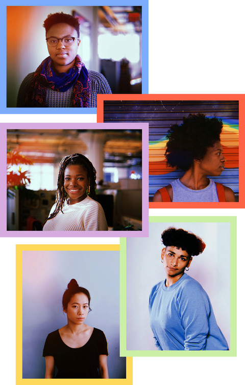 (from top to bottom) photos of the five founders of POC Audio: Afi Yellow-Duke, a short haired black woman with glasses in a grey sweater and blue and orange scarf; Adizah Eghan, a Black woman with an afro in front of a colorful wall looking off to the si
