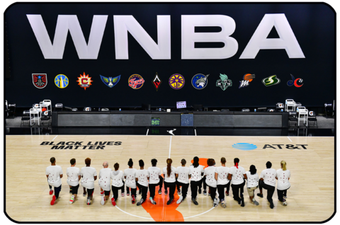 WNBA Washington Mystics wear white T-shirts with seven bullets on the back protesting the shooting of Jacob Blake