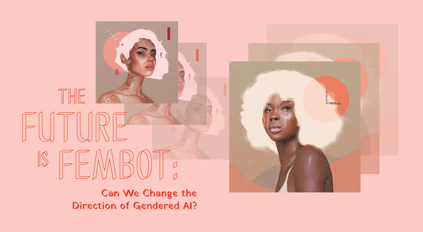 Header image with repeating illustrations of two femme-presenting people from the collarbone and up. One figure is light-skinned with short white hair and the other figure is dark-skinned with a white afro.