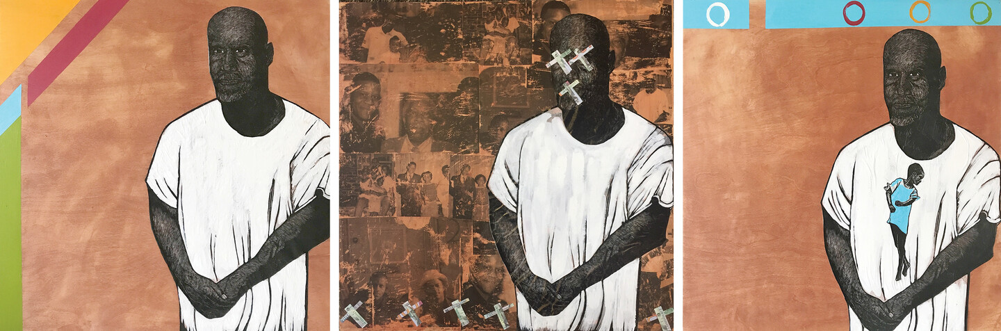 Three mixed-media linocuts on wood of Dawud Lee, a Philadelphia-based Black writer and mentor currently incarcerated for a crime he didn't commit, standing with his hands clasped in front of him surrounded by different background elements in each portrait