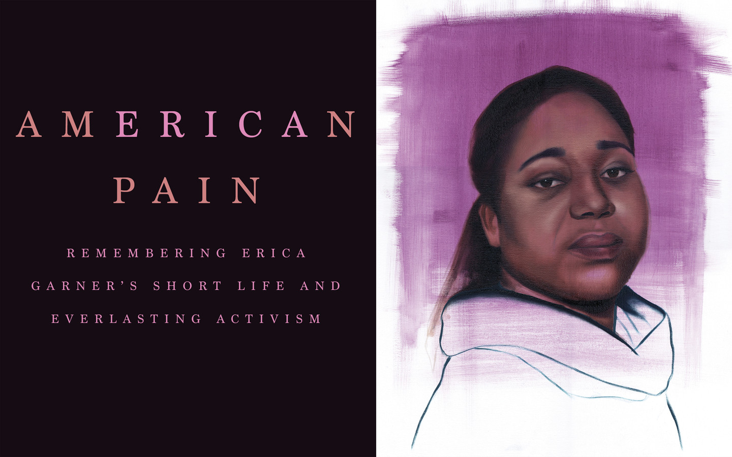 Oil on Canvas Portrait of Erica Garner from the shoulders up on pink background. She is at a three quarter turn looking over her right shoulder at viewer.