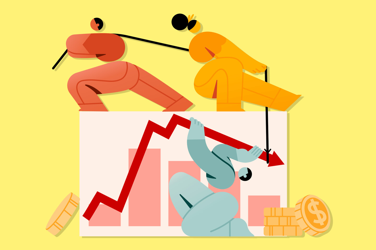 Illustration by Drawkit.io, Multiple characters interacting with finance chart