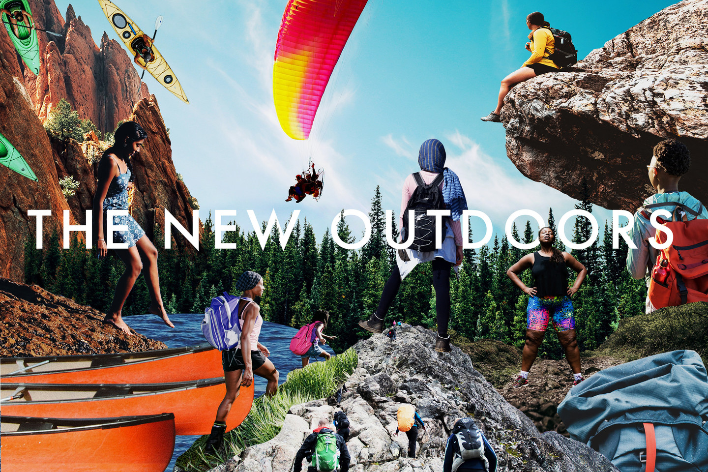 collage image of various images of people in the outdoors with the words