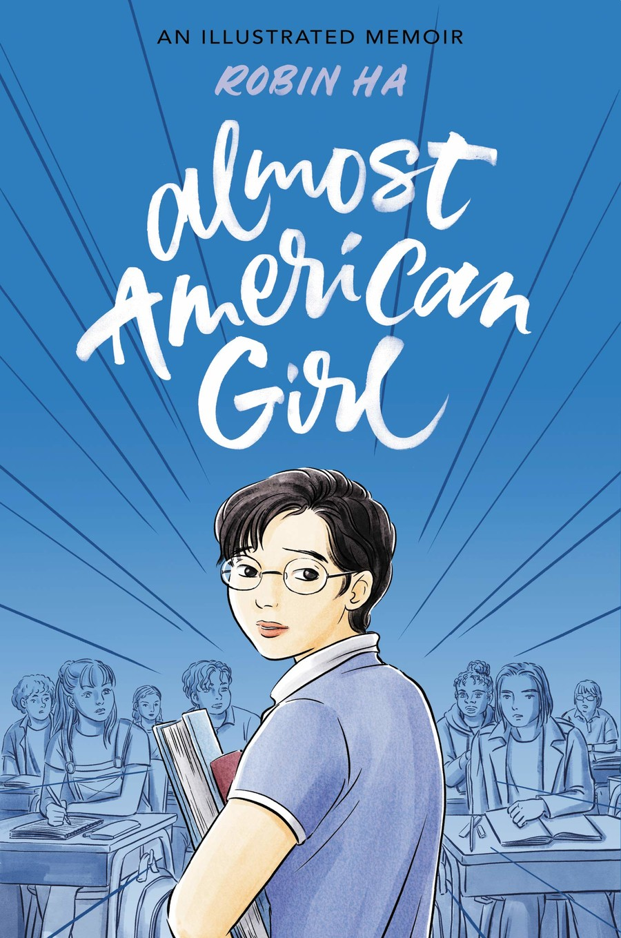 A young Korean girl with short hair, glasses, and a backpack faces out from a book cover.