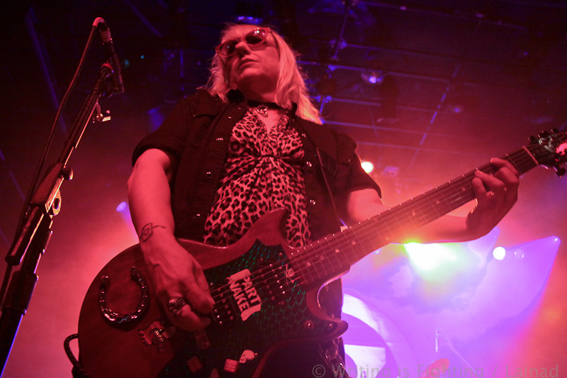 The guitarist for L7 onstage